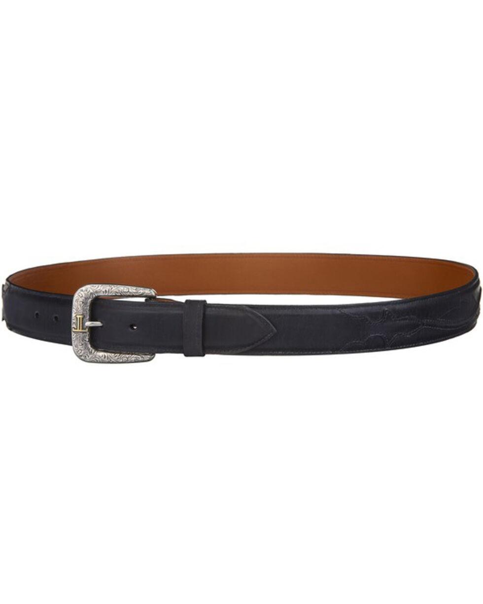 Lucchese Men's Black Calf Leather Seville Stitch Belt, Black, hi-res