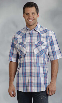 Roper Men's Amarillo Collection Blue & Red Plaid Short Sleeve Shirt, , hi-res
