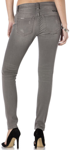 Miss Me Women's Get Ripped Grey Skinny Jeans, , hi-res