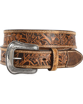 Justin Men's Tan The Huntsman Tooled Leather Belt , Tan, hi-res