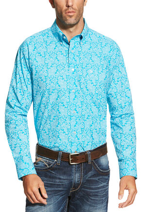Ariat Men's Turquoise Livingston Print Shirt - Big and Tall , Turquoise, hi-res