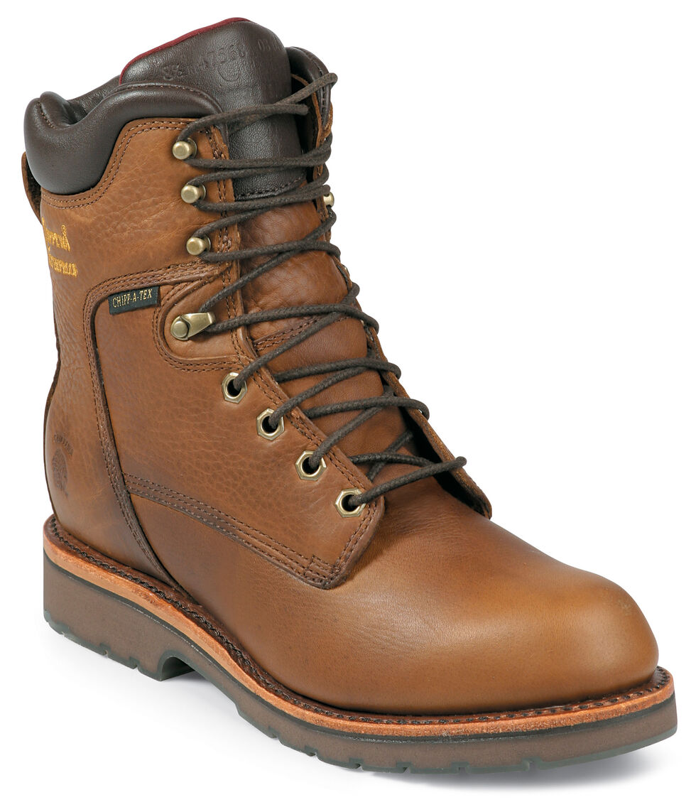 """Chippewa Waterproof 8"""" Lace-Up Work Boots - Round Toe, Tan, hi-res"""