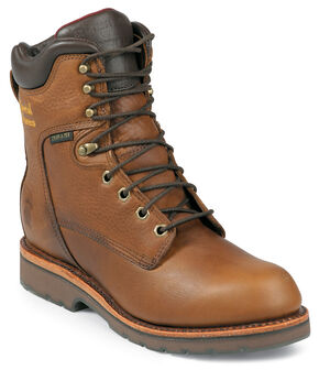 """Chippewa Waterproof & Insulated 8"""" Lace-Up Work Boots - Round Toe, Tan, hi-res"""
