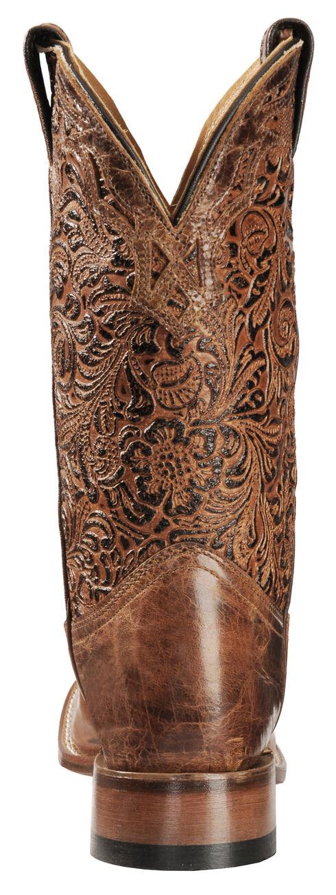 Boulet Hand Tooled Calf Cowgirl Boots - Square Toe, Tan, hi-res
