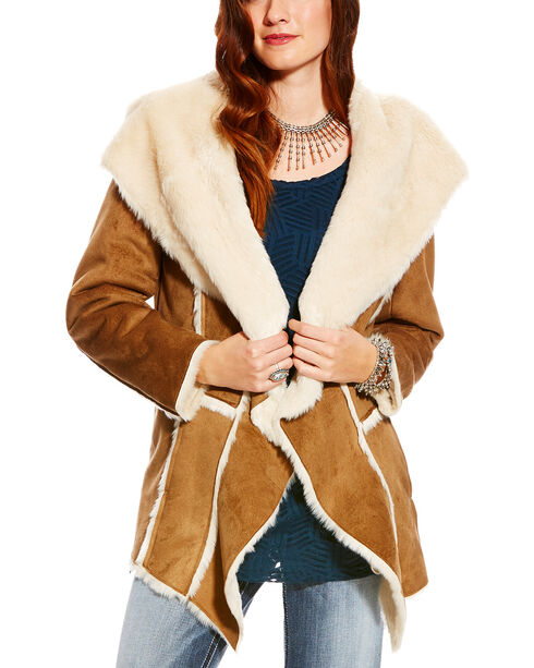 Ariat Women's Faux Fur Trim Nordic Jacket, Brown, hi-res
