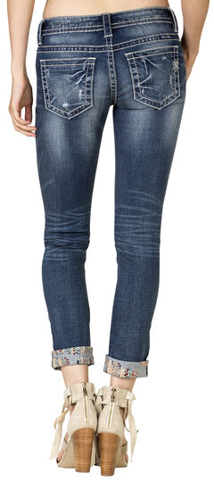 Miss Me Women's Embroidered Rolled Cuff Skinny Jeans, Blue, hi-res
