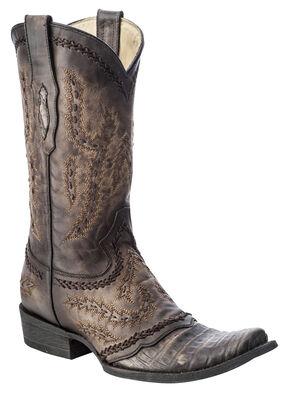 Corral Caiman Cowboy Boots - Square Toe, Brown, hi-res