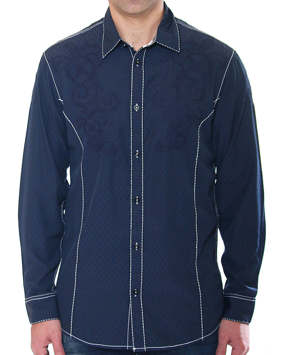 Austin Season Men's Embroidered Long Sleeve Button Down Shirt, Grey, hi-res
