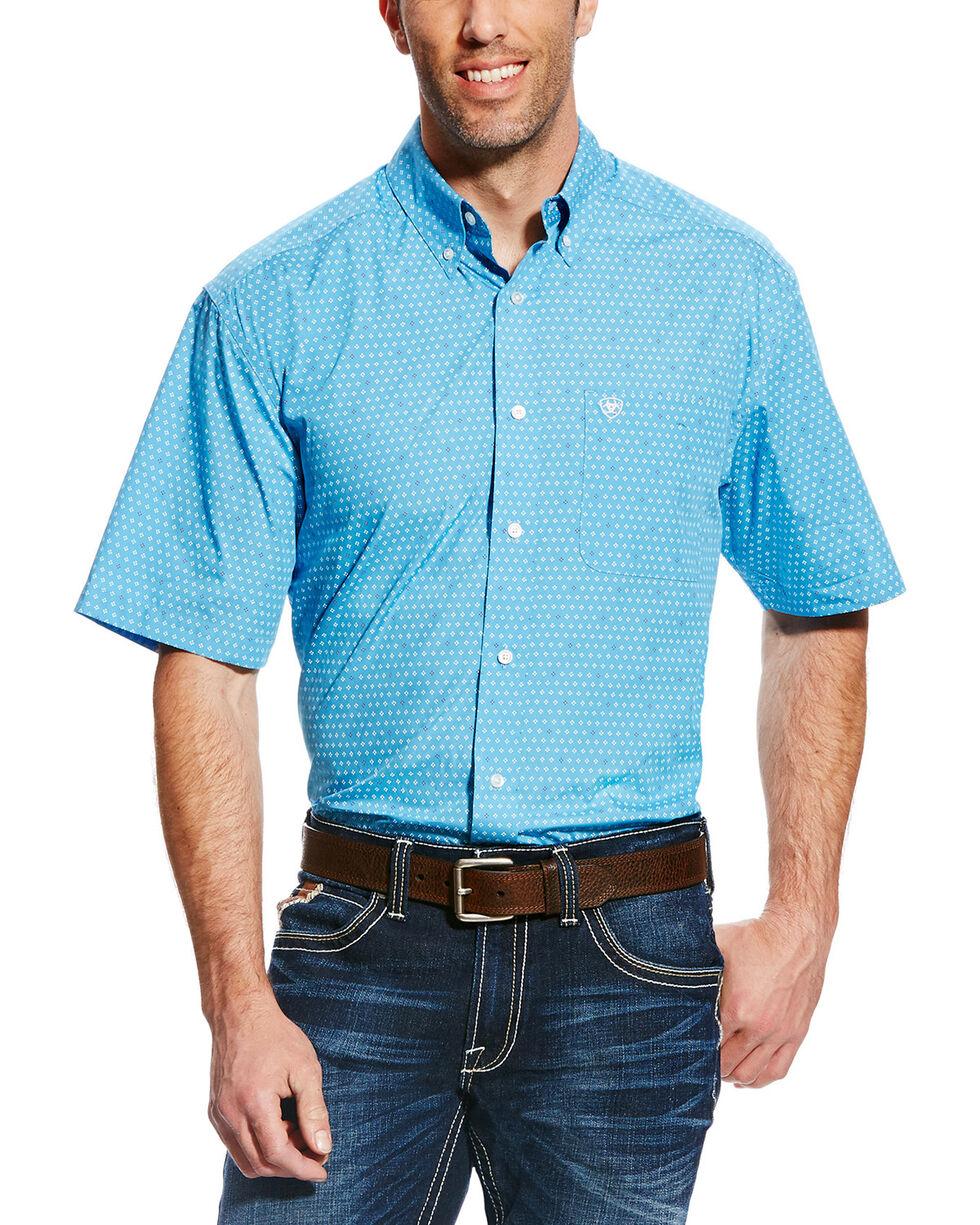 Ariat Men's Blue Cayden Print Short Sleeve Western Shirt , Blue, hi-res