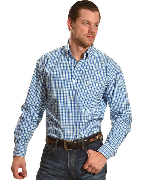 Wrangler George Strait Men's Blue/White/Blue Plaid Button Down Shirt, Blue, hi-res