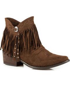 Roper Women's Brown Fringe Short Boots - Medium Toe  , Brown, hi-res