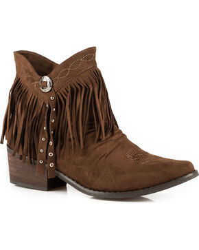 Roper Women's Brown Fringe Short Boots - Medium Toe  , Brown, hi-res