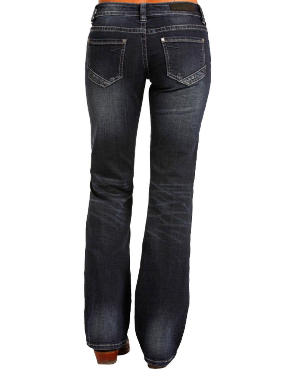 Rock & Roll Cowgirl Women's Low Cut Riding Jeans - Boot Leg , Indigo, hi-res