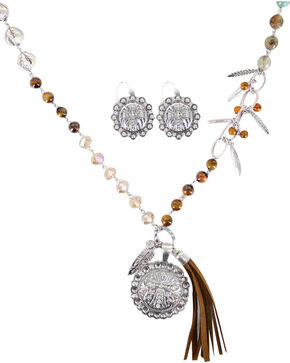 Shyanne Women's Cross Pendant Fringe Jewelry Set, Brown, hi-res