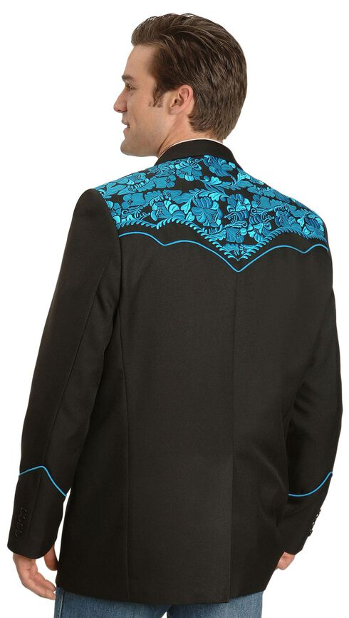 Scully Turquoise-hued Floral Embroidered Black Western Jacket, Turquoise, hi-res