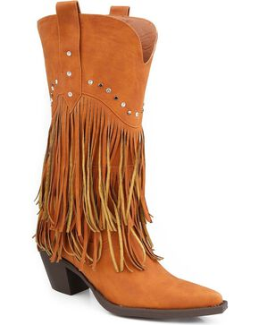 Roper Rhinestone Fringe Cowgirl Boots - Pointed Toe, Tan, hi-res