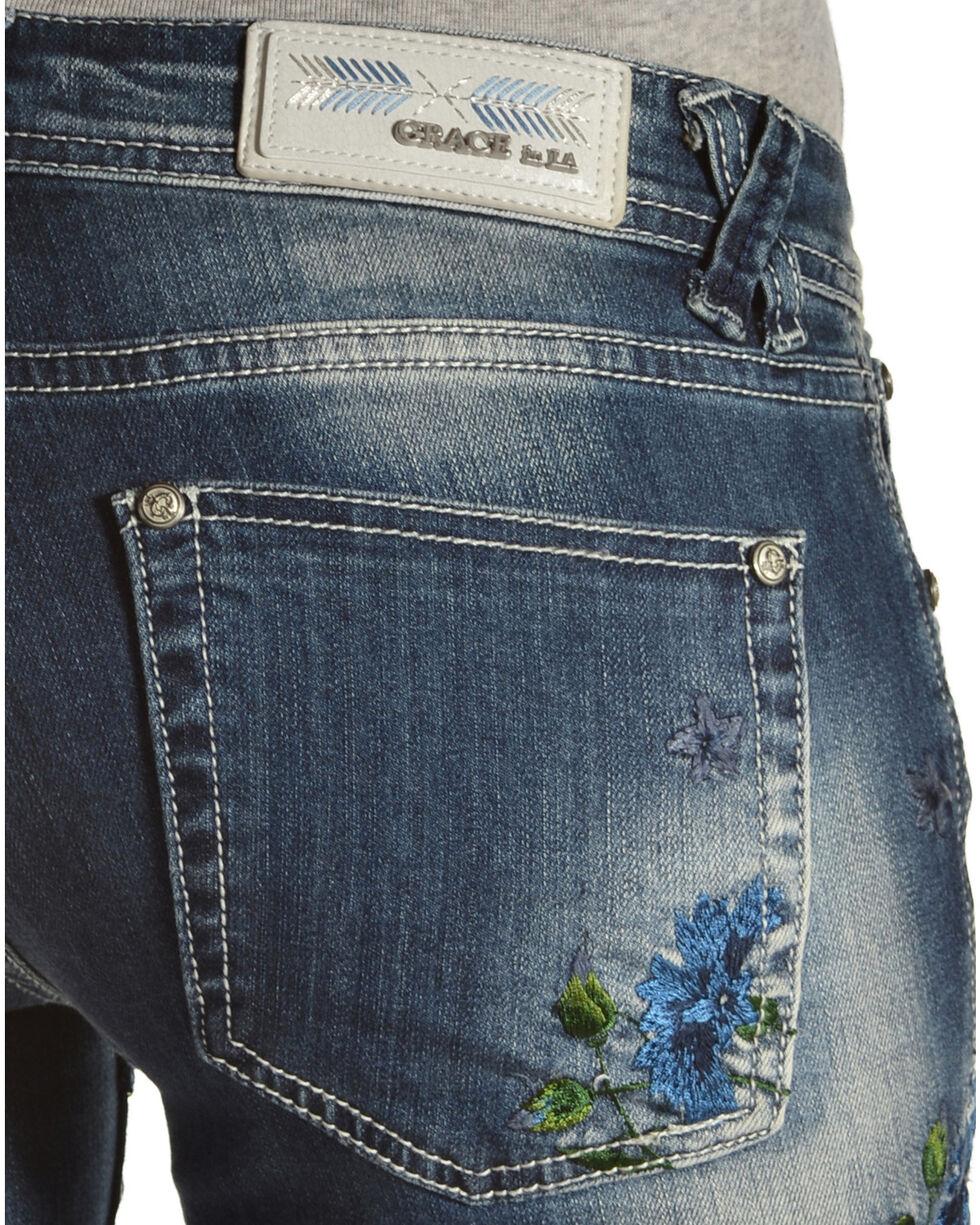 Grace in LA Floral Embroidery Skinny Jeans , Denim, hi-res