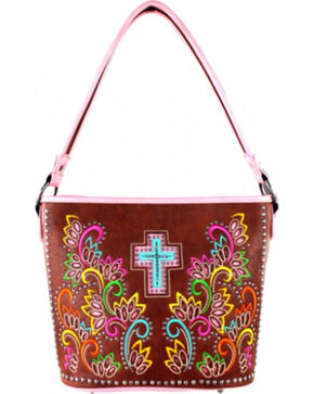 Montana West Cut Out Patten with Embroidery Spiritual Collection Handbag, Pink, hi-res