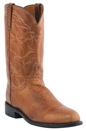 Lucchese Handcrafted 1883 Mad Dog Goatskin Roper Cowboy Boots - Round Toe, Tan, hi-res
