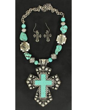 Blazin Roxx Turquoise Stone Large Cross Necklace & Earrings Set, Turquoise, hi-res