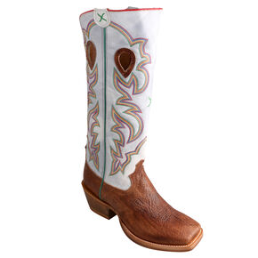 "Twisted X Bright White 17"" Buckaroo Cowboy Boots - Square Toe, Cognac, hi-res"