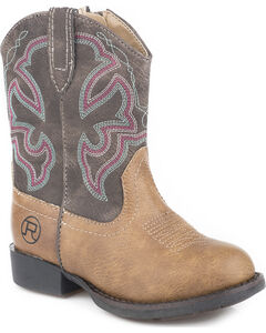 Roper Toddler Boys' Cody Classic Western Cowboy Boots - Round Toe, Tan, hi-res