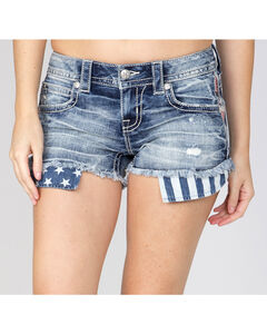 Miss Me Women's Indigo Flag Pocket Shorts , Indigo, hi-res