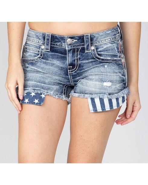 Miss Me Women's Indigo Flag Pocket Shorts , Indigo, hi-res