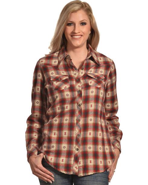 Nostalgia Women's Plaid Ikat Flannel Shirt, Multi, hi-res