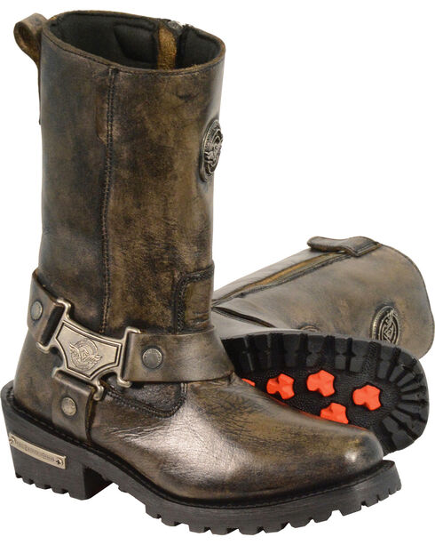 Milwaukee Leather Women's Distressed Brown Classic Harness Boots - Square Toe, Black, hi-res