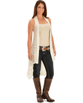 Ariat Women's Blaine Sweater Vest, Ivory, hi-res