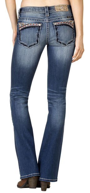 Miss Me Women's Medium Wash Aztec-Embroidered Bootcut Jeans - Extended Sizes, Blue, hi-res
