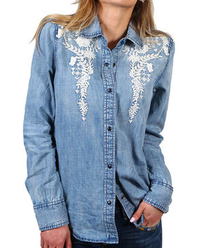 Driftwood Women's Floral Embroidery Chambray Shirt, Light/pastel Blue, hi-res