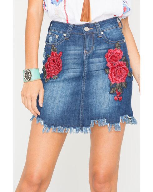Grace in LA Women's Rose Embroidered Denim Skirt, Indigo, hi-res