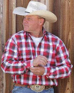 Cinch Men's White Long Sleeve Button Up Shirt, White, hi-res