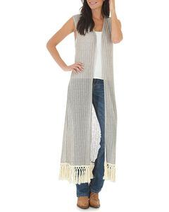 Wrangler Women's Tan Sleeveless Crocheted Trim Duster , Tan, hi-res