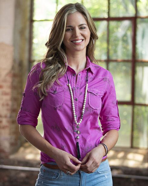 Ryan Michael Women's Thistle Bucking Horse Print Shirt , Purple, hi-res