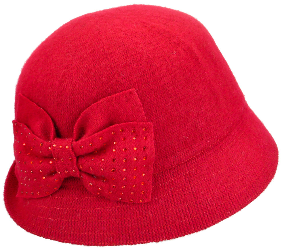 Betmar Women's Red Betty Cloche Hat , Red, hi-res