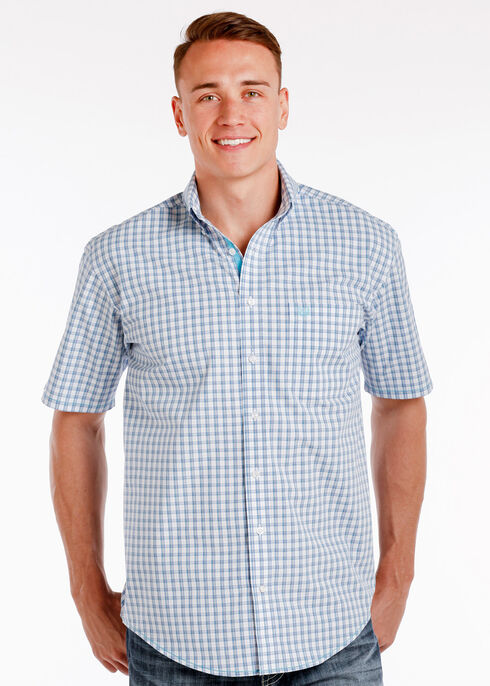 Rough Stock by Panhandle Men's Elgin Check Shirt , Blue, hi-res
