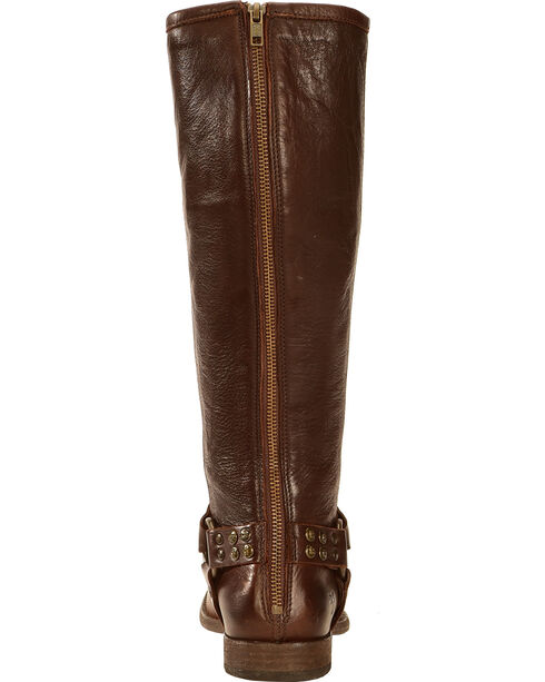 Frye Women's Phillip Studded Harness Riding Boots - Round Toe, Dark Brown, hi-res