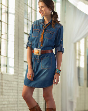 Ryan Michael Women's Denim Shirt Dress , Indigo, hi-res