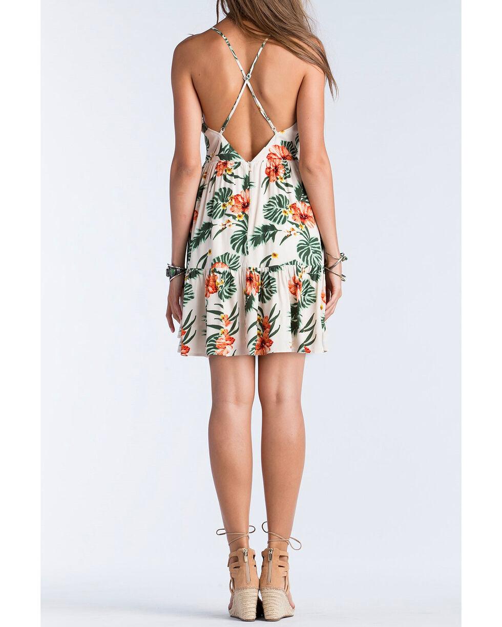 Miss Me Women's Spaghetti Strap Floral Dress , Khaki, hi-res