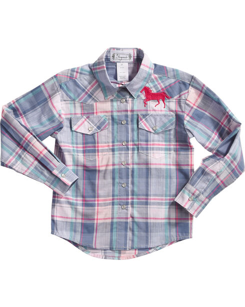 Shyanne Girls' Plaid Long Sleeve Shirt, Blue, hi-res