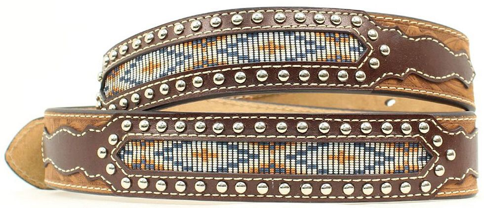 Nocona Top Hand Aztec Inlay Belt, Med Brown, hi-res