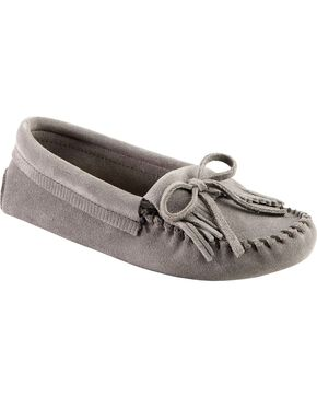Women's Minnetonka Kilty Suede Softsole Moccasins, Storm Blue, hi-res