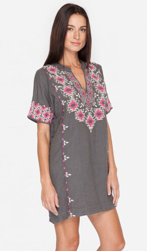 Johnny Was Women's Grey Paige Short Sleeve Easy Tunic, Grey, hi-res
