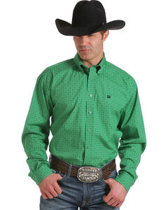 Cinch Men's Green Print Long Sleeve Shirt, , hi-res