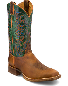 Justin Men's 13 Inch Royal Green Western Stitched Cowboy Boots - Square Toe, Cognac, hi-res