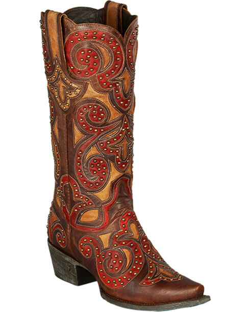 Lane Paulina Scroll Cowgirl Boots - Snip Toe, Red, hi-res