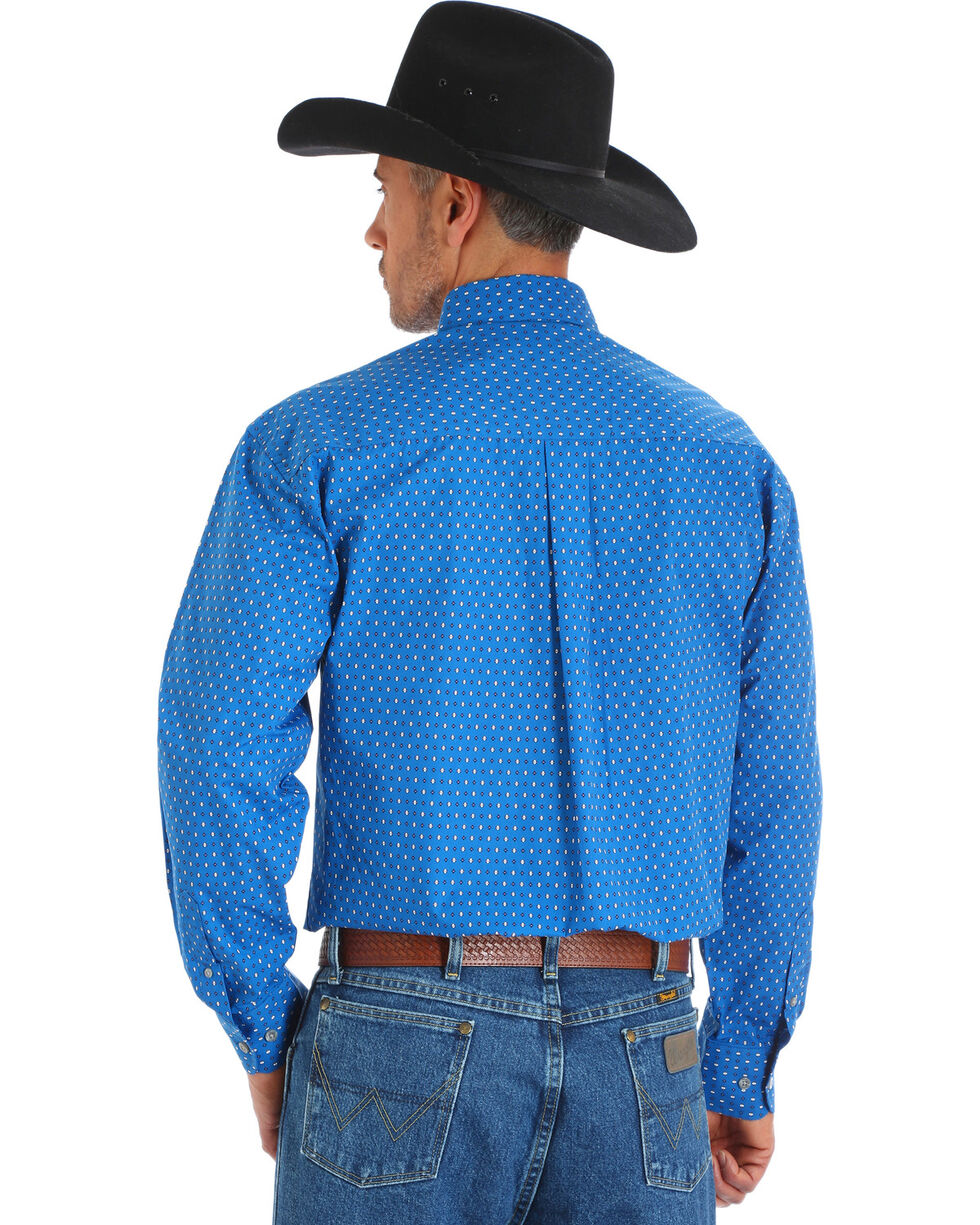 Wrangler George Strait Men's Blue Printed Poplin Button Shirt, , hi-res